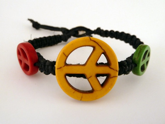 Peace Sign Bracelet Hemp Rasta Jewelry Rasta Colors by HEMPHUTT, $5.99