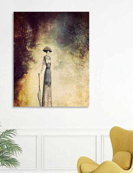 Discover «VINTAGE FASHION LADY IN ABSTRACT FOREST», Numbered Edition Canvas Print by Pia Schneider - From 45€ - Curioos #art #vintage #painting #piaschneider #curioos #ateliercolourvision #kunst