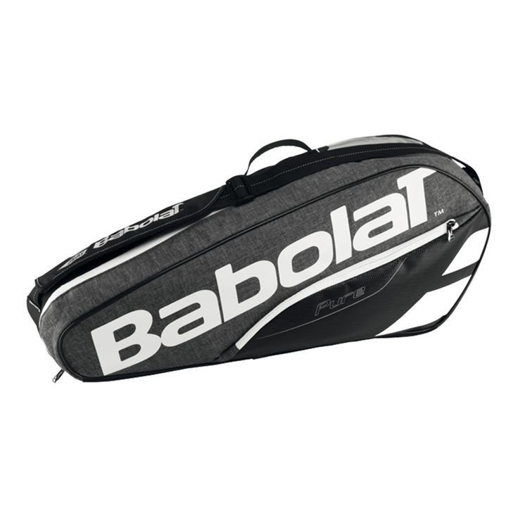 "The Babolat Pure 3 Pack Tennis Bag holds up to 3 racquets making it perfect fordedicated players.  Features bigger openings for better access, a pocket with a hard shell to protect fragile accessories and backpack straps offer ease of carry. Personalize your bag at mybabolatbag.com. Dimensions: 29.5"" x 5.1"" x 12.5"" Color: Gray Check out our Buyer's Guide for tips on choosing a tennis bag"
