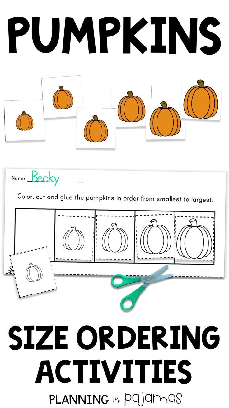 Size Ordering Activity To Include In A Fall Thanksgiving Or Halloween Theme Includes 2 Worksheets An Fall Lessons Kindergarten Centers Circle Time Activities [ 1308 x 736 Pixel ]