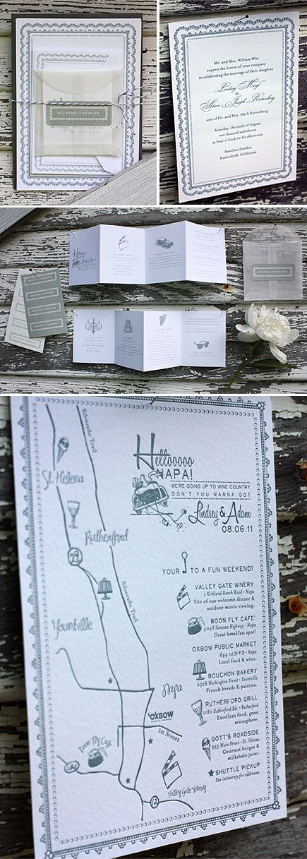 how to put guest names on wedding invitations%0A The invitation suite highlighted the couple u    s favorite spots in Napa for  their guests to visit   Paisley Quill