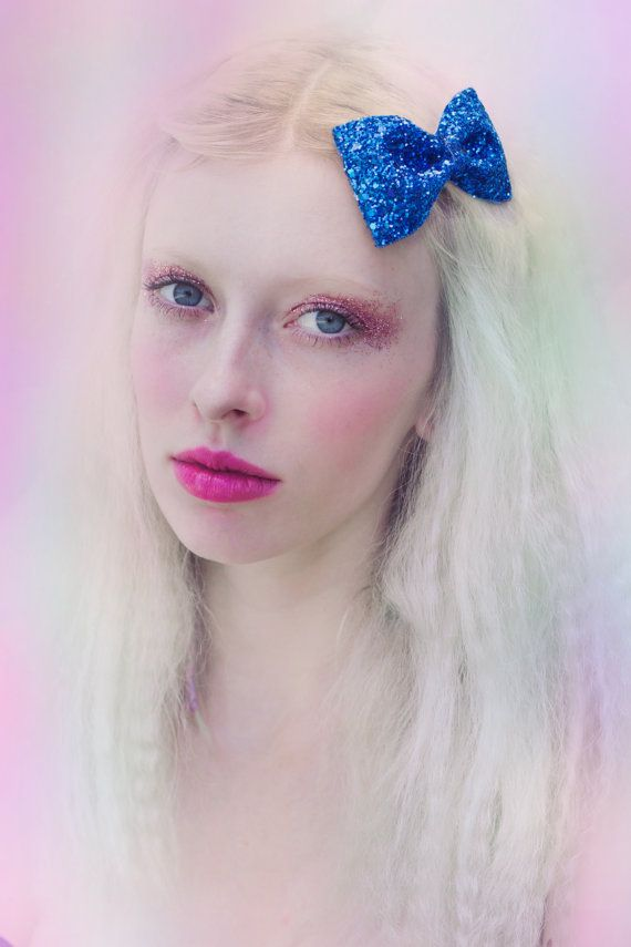 Royal Blue Glitter Hair Bow Perrie from Little Mix by beauxoxo
