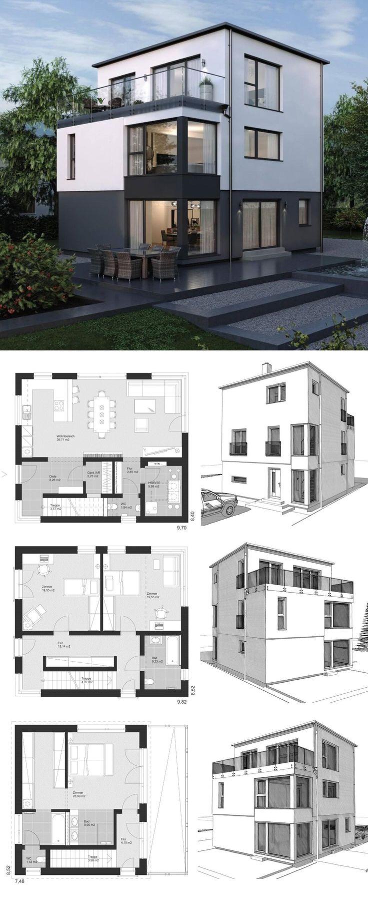 Architecture unifamiliale moderne avec toit plat & 3 étages – maison préfabriquée …
