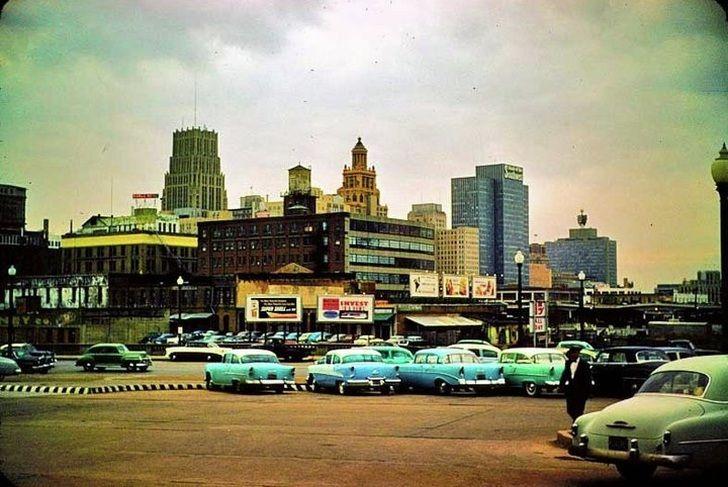 A 1957 photo of the Houston Skyline