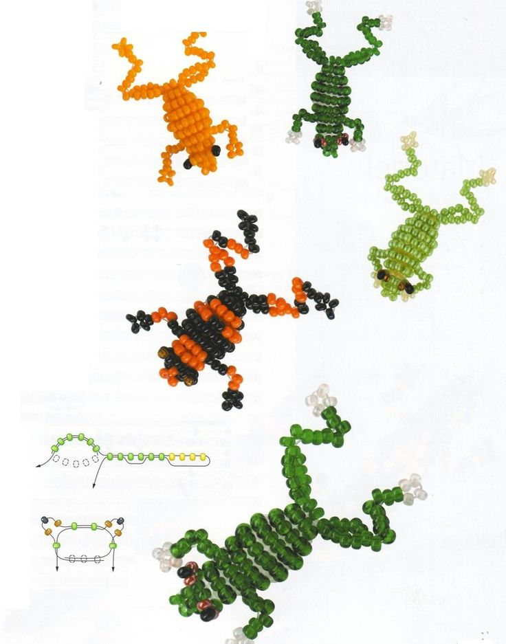 Seed bead frogs