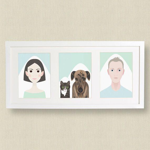 Custom digital family portrait with pets