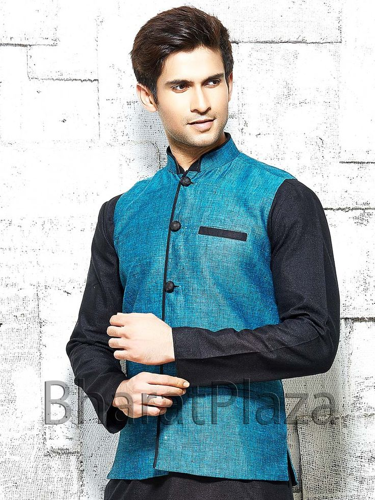 Impressive teal color linen nehru jacket with contrast buttons. Item Code: NJI001G