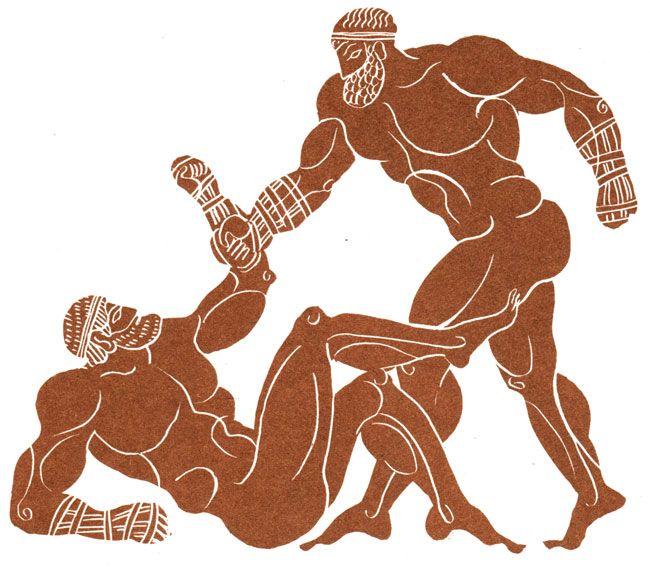 борцы рисунок на древнегреческой вазе характерна для