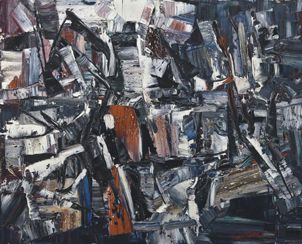 Jean Paul Riopelle (1923-2002)  Sur les traces, 1958  oil paint on canvas  65 x 81.3 cm   Gift from Mr. & Mrs. L.L. Odette, Toronto  McMichael Canadian Art Collection  1994.19