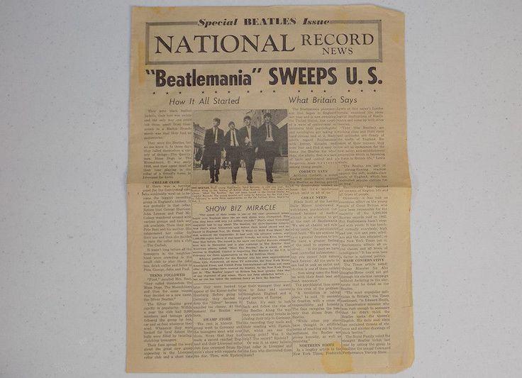 National Record News Beatlemania Sweeps U.S. Beatles newspaper circa 1964 rare