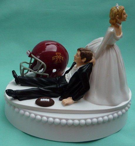 Iowa State University Cyclones ISU Football Themed Wedding Cake Topper Keywords: #weddings #jevelweddingplanning Follow Us: www.jevelweddingplanning.com  www.facebook.com/jevelweddingplanning/