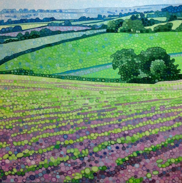 Ewa Adams Rolling Hills Acrylic on Canvas 40 x 40 cm £ 895  #Art #Paintings #Exhibitions #Surrey