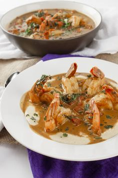 Voodoo shrimp. Made this when my aunt came to visit. Her and my hubby loved it! So flavorful and creamy. I served it over some polenta.