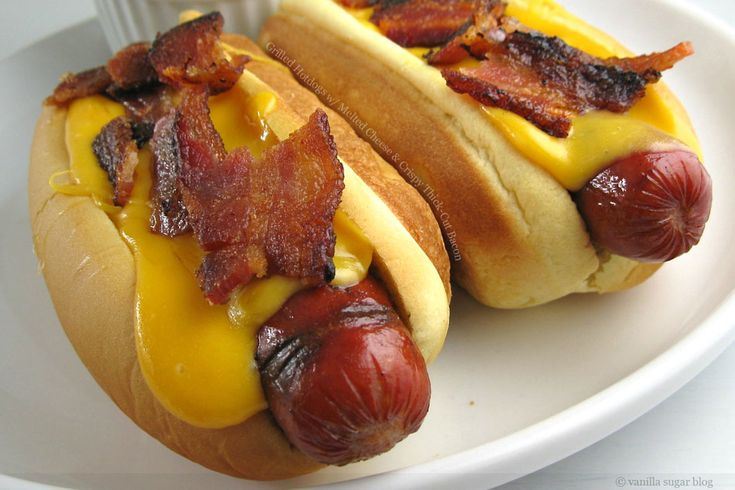 OMG: Grilled Hotdogs with Melted Cheese and Crispy Thick Cut Bacon