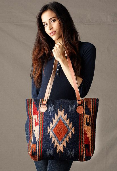 Hand-Woven Wool Maya Tote Purse in Navy Multi with Leather Shoulder Straps
