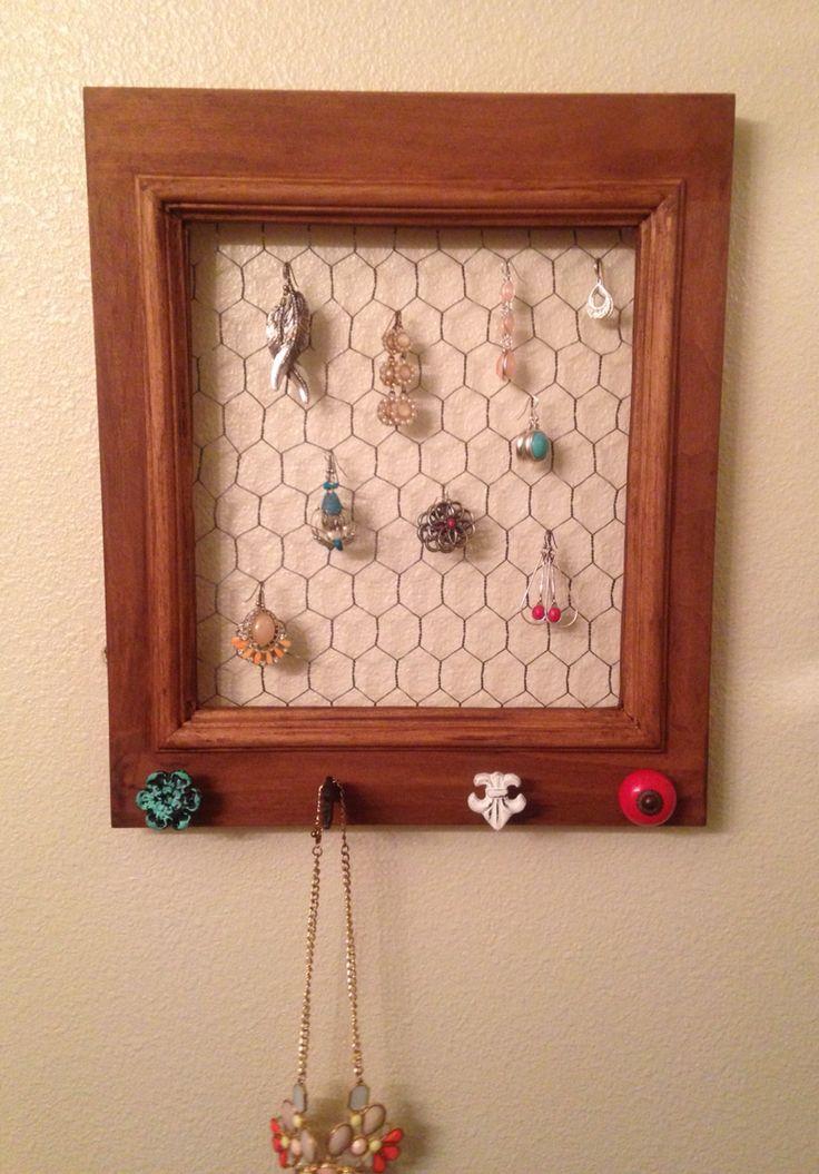 Homemade earring holder, loved how it turned out!