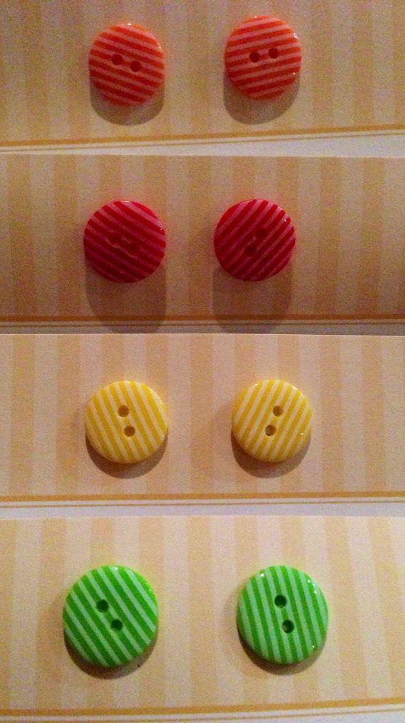 Striped Button Earrings by KatieHootie on Etsy, $4.50