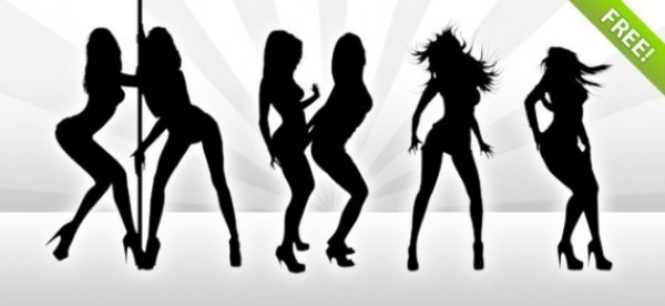 7 Hot Dancing Girl Silhouettes PSD
