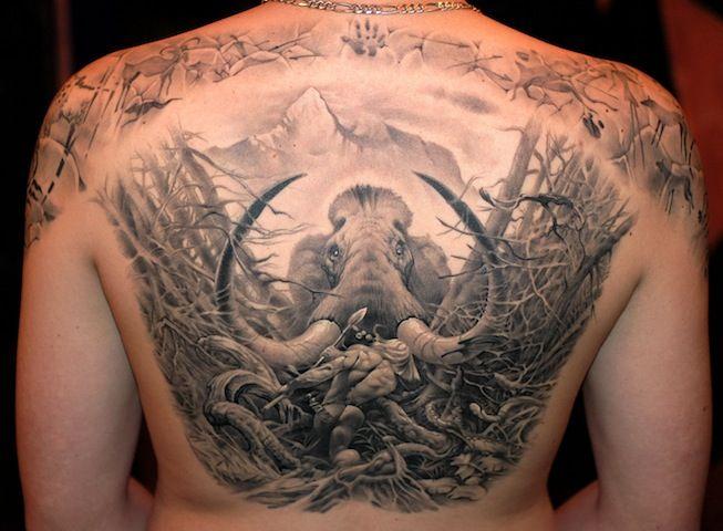 Mastodon! ~ Plus, I love that little handprint in the center at the top.Tattoo Ideas, Art Tattoo, Tattoo Artists, Back Piece, Body Art, Back Tattoo, James Tattoo, Tattoo Ink, Tattooart