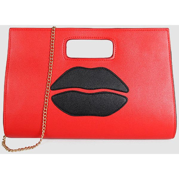 Sexy Mouth Pu Hand Bag ($24) ❤ liked on Polyvore featuring bags, handbags, polyurethane bags, pu handbag, cartoon bag, comic handbag and comic bag