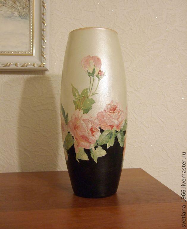 """Ваза """"День и ночь"""" - черно-белый,ваза,ваза декупаж,декупаж вазы,стекляная ваза"""