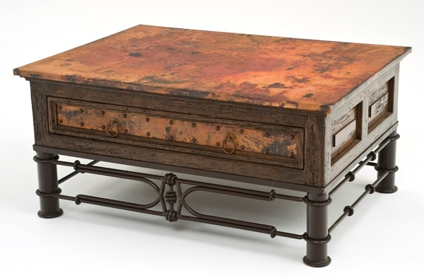 Hand Hammered Copper Coffee Table with e Drawer Item
