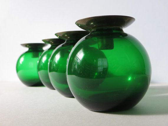 Scandinavian Green Glass Candle Holders Mid by CloudyFloral