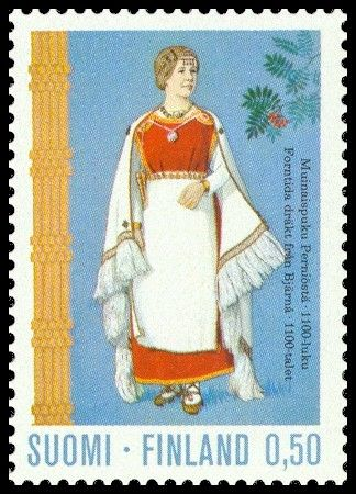 Postage stamp illustrating a traditional Finnish dress from the Perniö region