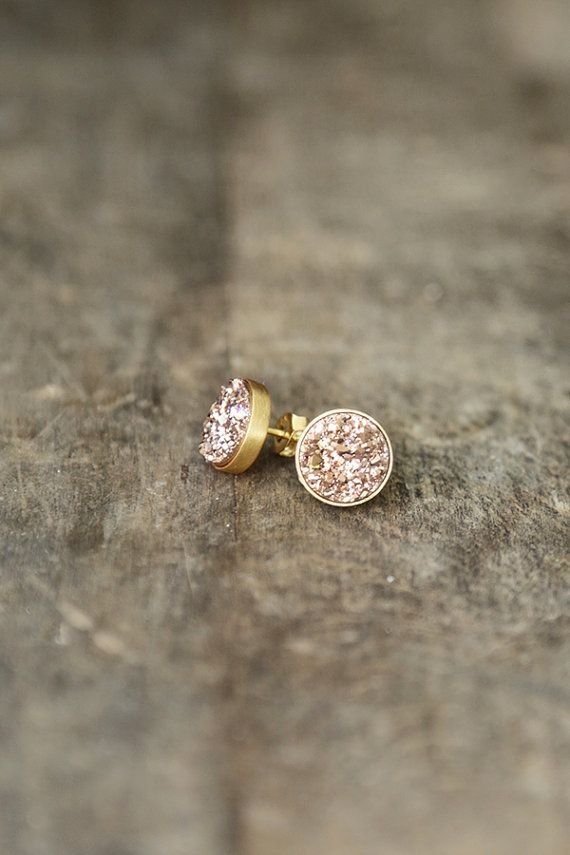 Rose Gold Druzy Studs, 10mm Druzy Stud Earrings, Pink Gold Sparkle Posts, Rose Gold Earrings, Glitter Studs