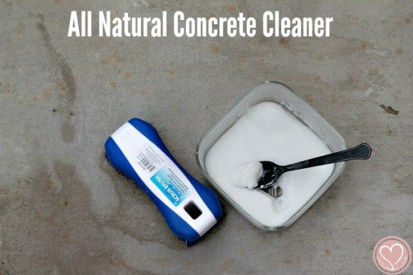 An all natural DIY concrete cleaner perfect for sprucing up a patio. Not abrasive, but will clean dirt very well!