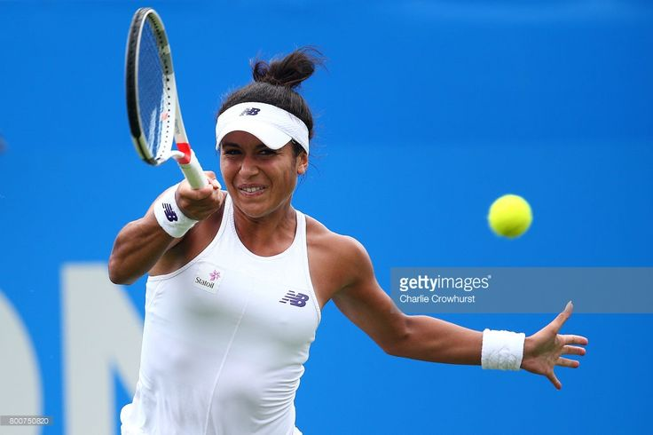 Heather Watson of Great Britain in action during her main draw match against Media Tsurenko of Ukraine during day one of the Aegon International Eastbourne on June 24, 2017 in Eastbourne, England.