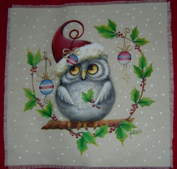 Little Owl Christmas..................... pattern on fabric