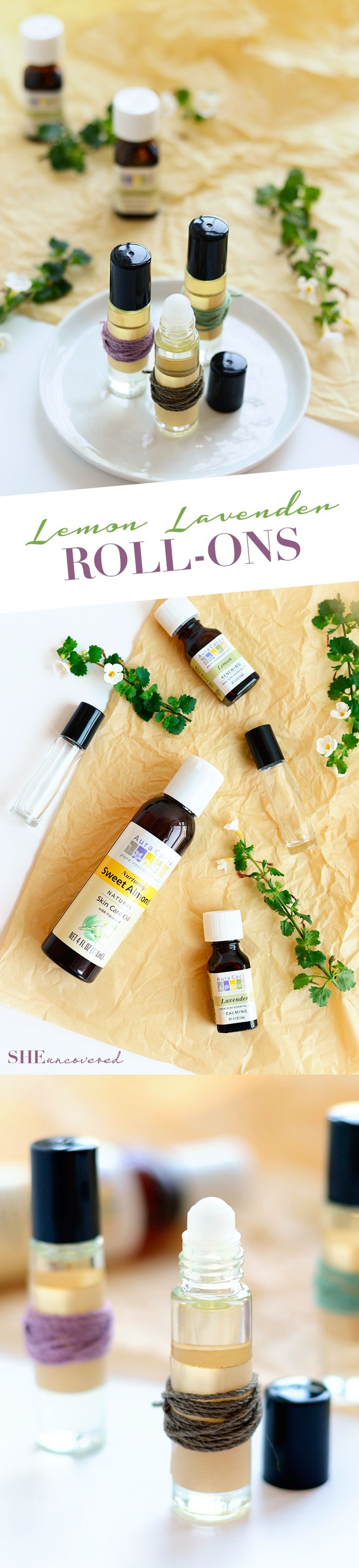 A super easy and all-natural body perfume roll-on recipe! Using sweet almond oil with a hint of lemon and lavender you can smell fresh all day long. They're a great thing to toss in your purse or gift to friends or hosts!