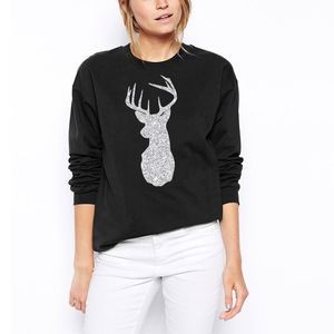 Glitter Reindeer Christmas Sweatshirt. Shop Christmas Jumpers now.