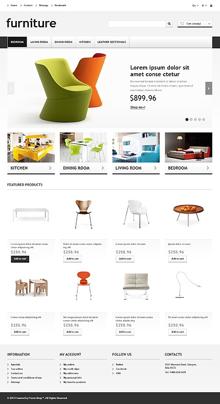 'Furniture Profile' PrestaShop Template #webdesign 45011 http://www.zign.nl/45011