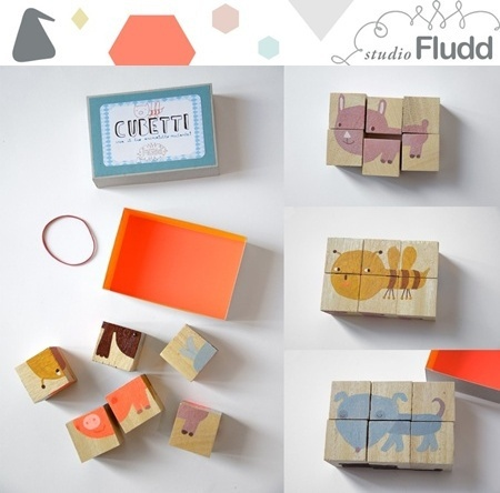 lovely pictures on children wooden cubes by Studio Fludd