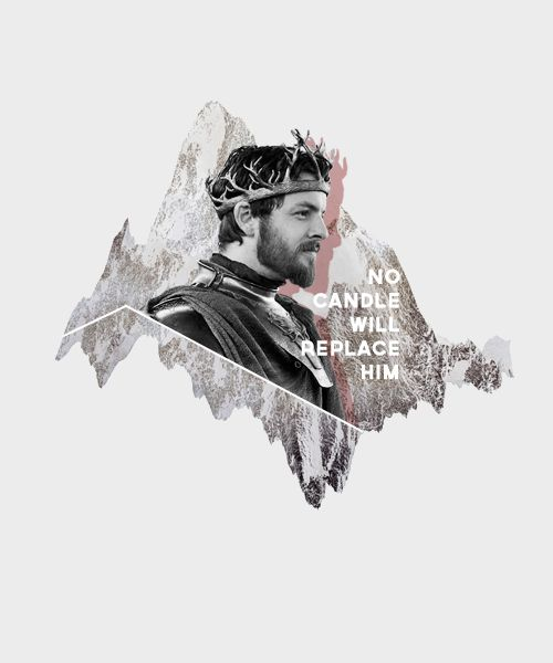 """King Renly Baratheon...""""When the sun has set, no candle can replace it."""" -Ser Loras Tyrell, My opinion of this character changes each time I read the book: He was kind to Brienne, a bully to Stannis, kind of an arrogant jerk, but the one thing that never changes is I think that he and Loras' love was beautiful."""