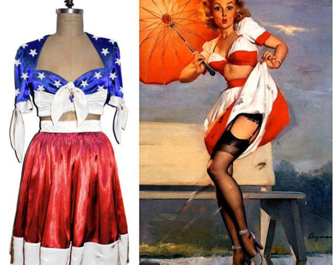 VLV GORGEOUS Vargas Pin Up Blouse and Skirt as used for the 2012 PinUp Calender - you choose your color combination