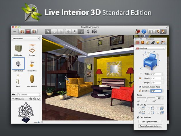 Design Your Dream Home w/Live Interior 3D For Mac - Plan Your Next Home Improvement Project w/This Powerful Interior Design App