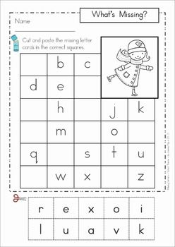 Missing Alphabet Letters Cut and Paste - Winter Theme. Great for word work center, homework or early finisher work! Could also use these with stamps instead of cutting out the letters from the bottom.