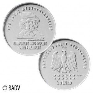 BRD 20 Euro 2016 175 Jahre Deutschlandlied