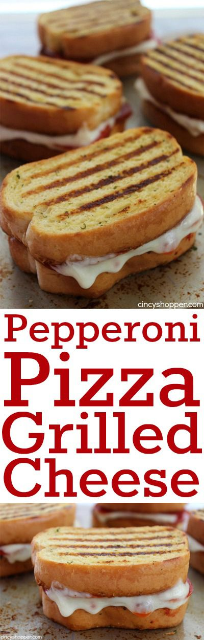 Pepperoni Pizza Grilled Cheese Sandwich- a fun twist on a traditional favorite. Garlic Toast layered with marinara, tons of pepperoni, and mozzarella cheese.