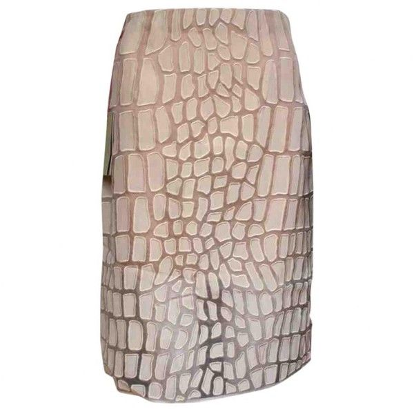 Pre-owned Stella Mc Cartney Silk Mid-Length Skirt ($194) ❤ liked on Polyvore featuring skirts, beige, women clothing skirts, transparent skirt, silk pencil skirt, lined skirt, brown pencil skirt and stella mccartney