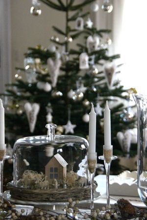 Christmas Village under glass in a simple Cloche