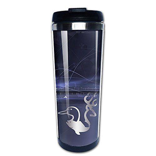 Stainless Steel Browning Deer Duck Fish Platinum Style Tumbler Coffee Mug ** For more information, visit image link.
