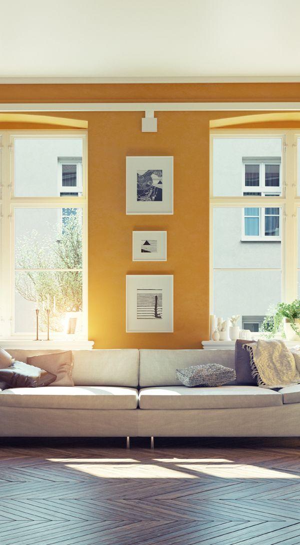 Die Wandfarbe Gelb verleiht jedem Raum eine positive Grundstimmung, die keinen Platz für trübe Gedanken lässt. Wenn Sie über wenig Wohnfläche verfügen, sollten Sie Ihre Wände am besten in Gelbtönen streichen. Dadurch wirkt der Raum sofort größer.