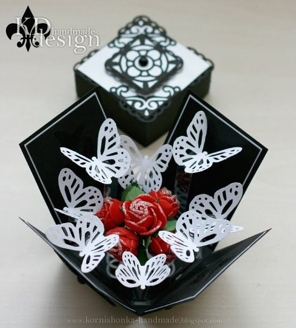 Още една кутийка, която прaвих по поръчка:-). Трябваше да е подобна на  последната, която изработих, но с повече пеперуди.