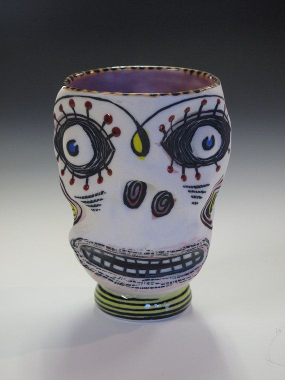 Happy baby skull cup by corneyware on Etsy, $80.00