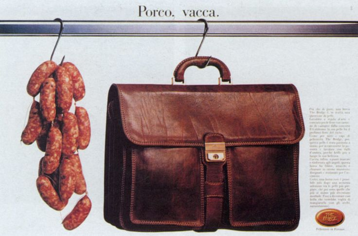 """Read more: https://www.luerzersarchive.com/en/magazine/print-detail/the-bridge-13739.html The Bridge Pig, Cow. (""""Porco vacca"""" is a profanity.) Campaign for """"The Bridge"""" brand of bags. Tags: STZ, Milan,Jean-Pierre Maurer,Marco Ferri,Francesco Rizzi,The Bridge"""