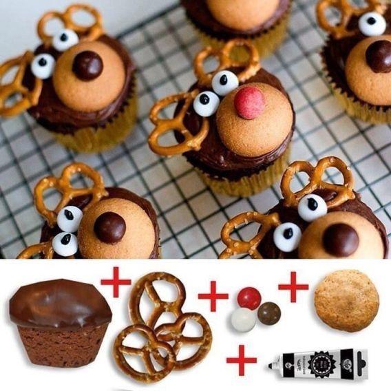 Pour faire sourire petits et grands, et les faire se régaler en même temps, voici un tutoriel ultrasimple pour créer des petits gâteaux à l'allure de rennes rigolos. Source : twitter.com/romanquebecois Votre équipe canalvie.com